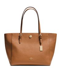 COACH - Brown Turnlock Leather Tote - Lyst