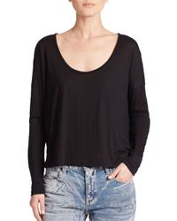 T By Alexander Wang - Black Long-sleeve Jersey Tee - Lyst