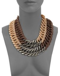 Lafayette 148 New York - Brown Double Chainlink Necklace - Lyst