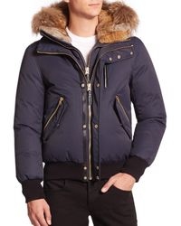 Mackage | Blue Dixon Fur-Trimmed Bomber Jacket for Men | Lyst