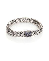 John Hardy - Metallic Silver Large Chain Bracelet With Sapphire - Lyst