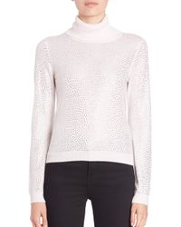 Alice + Olivia | Natural Jordana Embellished Turtleneck | Lyst