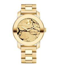 Movado | Metallic Bold Crackle Goldtone Ip Stainless Steel Bracelet Watch | Lyst