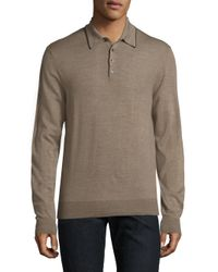 Saks Fifth Avenue | Natural Merino Wool Long Sleeve Polo for Men | Lyst
