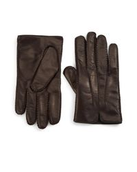 Portolano | Brown Cashmere-lined Leather Gloves | Lyst