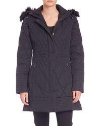 Rainforest | Black Quilted Fur-trimmed Coat | Lyst