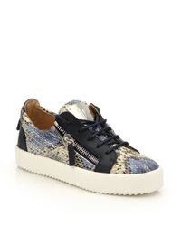Giuseppe Zanotti | Multicolor Snake-embossed Leather Low-top Zip Sneakers | Lyst