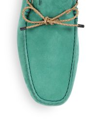 Tod's - Green Gommini Nubuck Leather Drivers - Lyst