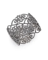 Adriana Orsini - Gray Statement Pave Crystal Gate Cuff Bracelet/gunmetal-tone - Lyst