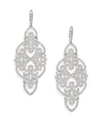 Adriana Orsini - Metallic Statement Pave Crystal Gate Drop Earrings/silvertone - Lyst