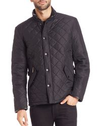 Barbour   Black Powell Quilted Coat for Men   Lyst