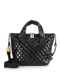 MZ Wallace | Black Sutton Small Lacquered Quilted Nylon Tote | Lyst