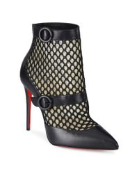 Christian Louboutin | Black Boterboot 100 Leather & Mesh Booties | Lyst