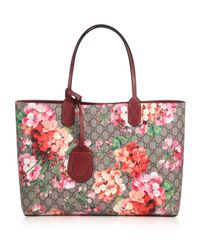 Gucci | Pink Reversible Gg Blooms Large Leather Tote | Lyst