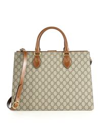 Gucci | Natural Gg Supreme Large Top-handle Bag | Lyst