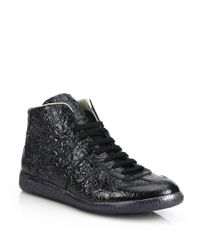 Maison Margiela | Black Replica Foil Mid-top Sneakers for Men | Lyst