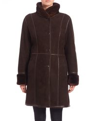 Saks Fifth Avenue | Brown Shearling Mink-collar Coat | Lyst