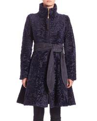 Saks Fifth Avenue - Blue Swakara Lamb Fur Belted Coat - Lyst