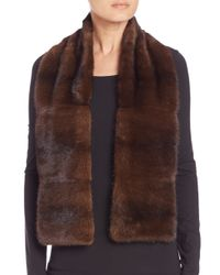 Saks Fifth Avenue - Brown Mink Scarf - Lyst
