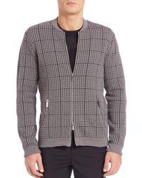 Emporio Armani | Gray Textured Zip-front Cardigan for Men | Lyst