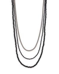 King Baby Studio | Metallic Black & Silver Triple Strand Necklace for Men | Lyst
