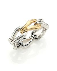 John Hardy   Metallic Bamboo 18k Yellow Gold & Sterling Silver Link Bangle Bracelet   Lyst