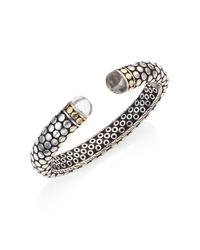 John Hardy   Multicolor Batu Dot Rock Crystal, Sterling Silver & 18k Gold Small Kick Cuff Bracelet   Lyst