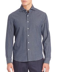 Eidos | Blue Checked Button-front Shirt for Men | Lyst