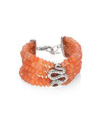 John Hardy | Red Legends Cobra Batu Peach Moonstone, Citrine & Sterling Silver Multi-strand Beaded Bracelet | Lyst