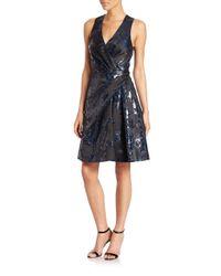 Carolina Herrera - Black Floral Jacquard Cocktail Dress - Lyst