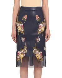 Alexander McQueen - Black Embroidered Leather Pencil Skirt - Lyst