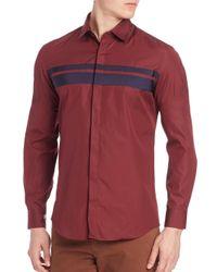 Ferragamo   Red Grosgrain Stripe Sport Shirt for Men   Lyst