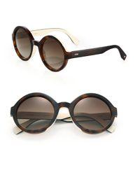 Fendi | Brown 51mm Round Optyl Sunglasses | Lyst