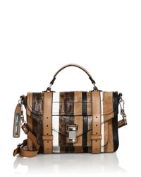Proenza Schouler | Multicolor Ps1 Tiny Striped Leather, Suede & Snakeskin Satchel | Lyst