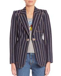 Marc Jacobs - Blue Embellished Selvedge Stripe Denim Blazer - Lyst