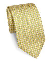 Ferragamo | Yellow Rhino Printed Silk Tie for Men | Lyst
