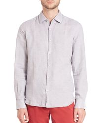 Saks Fifth Avenue | Gray Diamond Print Button-up for Men | Lyst