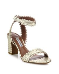 Tabitha Simmons - Leticia Scalloped Metallic Split Suede Block-heel Sandals - Lyst