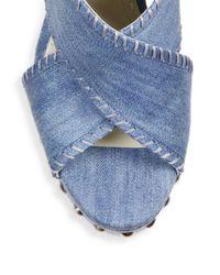 Alice + Olivia - Blue Gina Denim Platform Slingback Sandals - Lyst