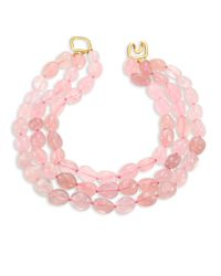 Kenneth Jay Lane | Pink Rose Quartz Three-row Beaded Necklace | Lyst
