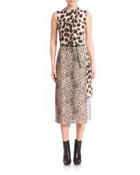 Akris | Multicolor Animal Print Wool & Silk Dress | Lyst
