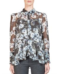 Erdem - Multicolor Liya Ruffled Silk Floral-print Blouse - Lyst