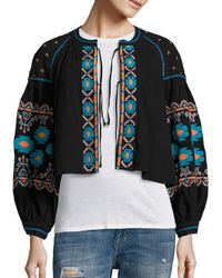 Free People | Black Embroidered Swingy Jacket | Lyst