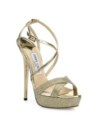 Jimmy Choo - Natural Liddie 145 Glitter & Metallic Leather Platform Sandals - Lyst