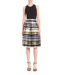 Carmen Marc Valvo - Multicolor Box Pleated A-line Striped Dress - Lyst