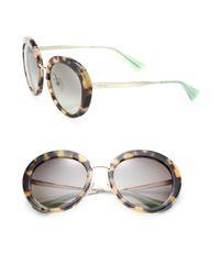 Prada - White 58mm Round Sunglasses - Lyst
