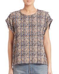 IRO | Blue Eline Silk-blend Tweed Top | Lyst