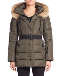 Sam. | Multicolor Fur-trim Belted Down Puffer Jacket | Lyst