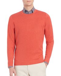 Saks Fifth Avenue | Orange Silk, Cotton & Cashmere Crewneck Sweater for Men | Lyst