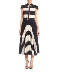 Alice + Olivia - Black Gale Panel Collared Cap Sleeve Pleated Dress - Lyst
